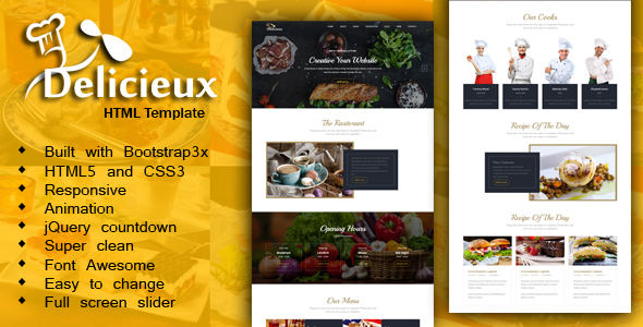 Mega Delicieux – Restaurant and Food HTML5 Template