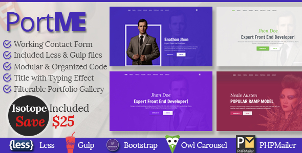 PortMe – Professional Resume & Portfolio HTML5 Template