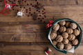 Walnuts in Christmas Tin with Festive Decorations on Rustic Table Nulled
