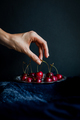 Hand Picking Red Cherries from Silver Platter against Black Background Nulled