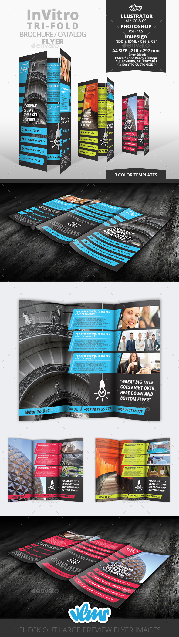 InVitro Tri Fold Flyer Template - Corporate Flyers