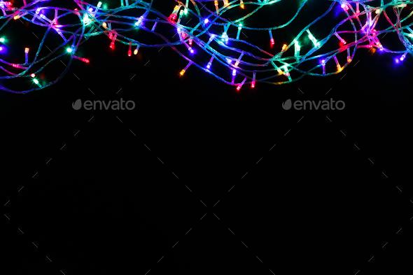 Christmas Lights Background.Christmas Lights Border On Black Background