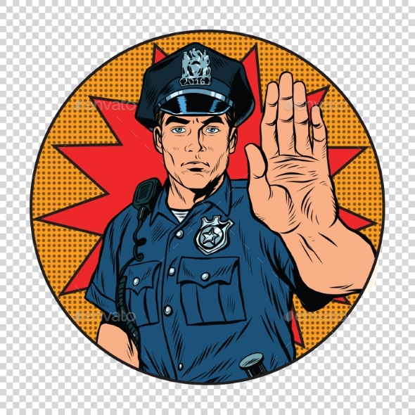 Retro Police Officer Stop Gesture - People Characters