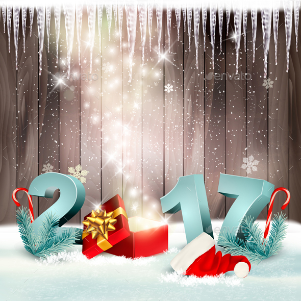 New Year Background With A 2017 And Magic Box Vector - Christmas Seasons/Holidays