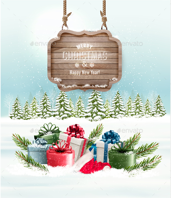Winter Background With Gift Boxes And A Wooden Sign - Christmas Seasons/Holidays