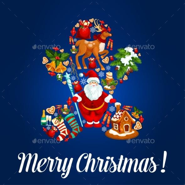 Merry Christmas Poster, Vector Greeting Card - Christmas Seasons/Holidays