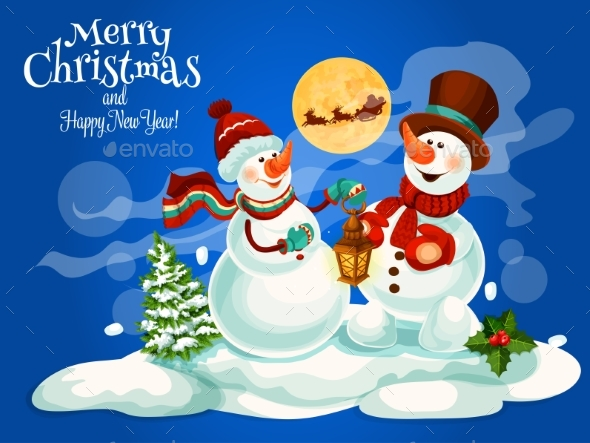 Merry Christmas, New Year Vector Greeting Card - Christmas Seasons/Holidays