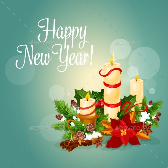 Happy New Year Greeting Card with Candles - New Year Seasons/Holidays