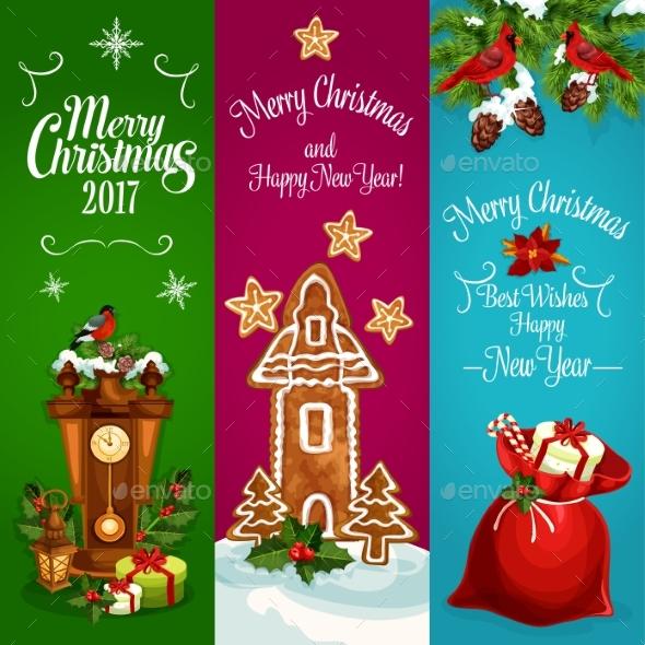 Christmas, New Year Vector Banners Set - Christmas Seasons/Holidays