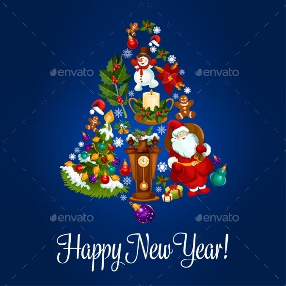 Happy New Year Poster of Christmas Symbols - New Year Seasons/Holidays