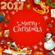 Merry Christmas Poster of Vector Holiday Symbols