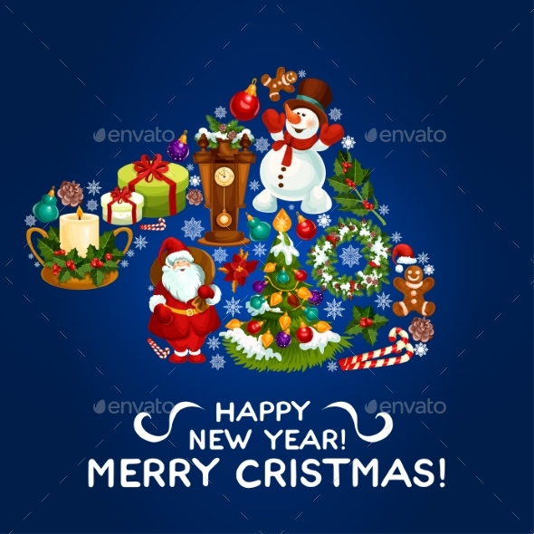 Happy New Year, Merry Christmas Vector Design - Christmas Seasons/Holidays