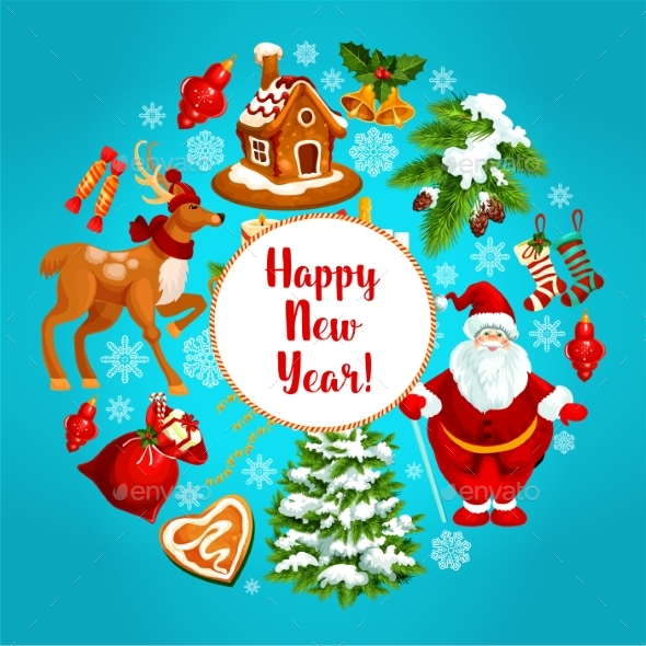 Happy New Year Vector Greeting Poster - New Year Seasons/Holidays