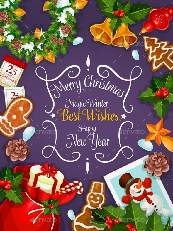 Merry Christmas, New Year Wishes Card, Poster - Christmas Seasons/Holidays