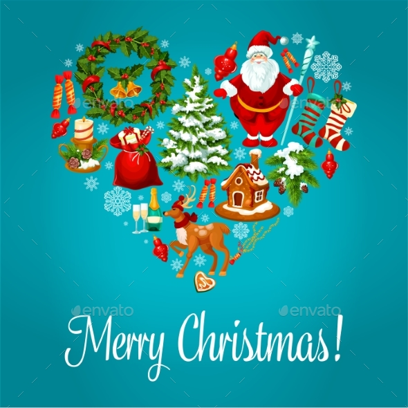Merry Christmas Greeting in Heart Shape - Christmas Seasons/Holidays