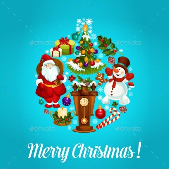 Merry Christmas Greeting Vector Design - Christmas Seasons/Holidays