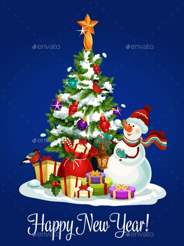 Happy New Year Poster of Christmas Tree, Snowman - New Year Seasons/Holidays
