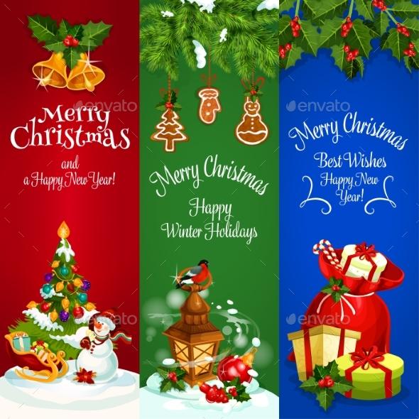 Christmas, New Year Winter Holidays Vector Banners - Christmas Seasons/Holidays