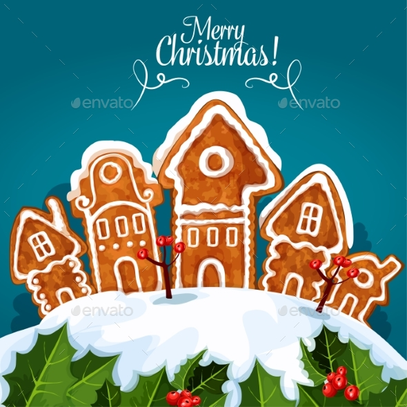 Merry Christmas Gingerbread House Poster - Christmas Seasons/Holidays