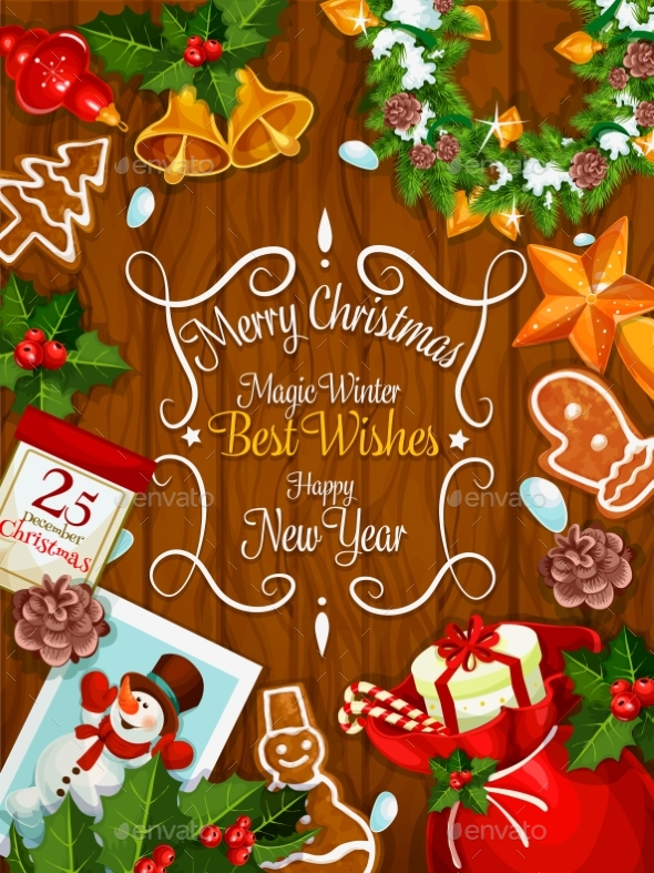 Merry Christmas New Year Best Wishes Vector Poster - Christmas Seasons/Holidays