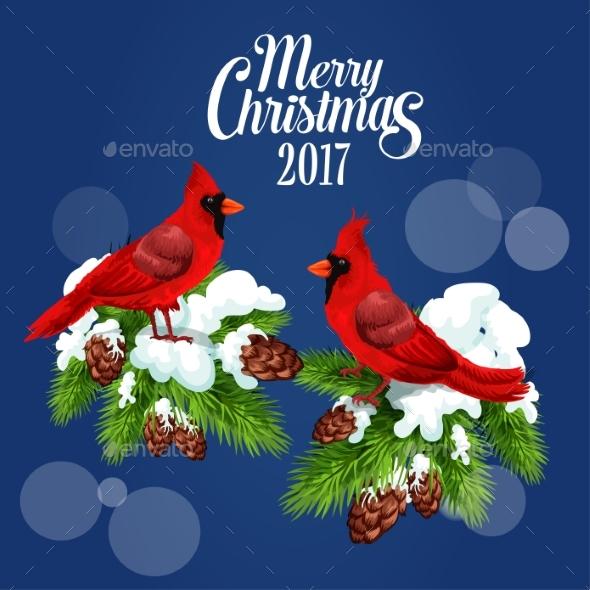 Merry Christmas Greeting Poster, Red Bird Cardinal - Christmas Seasons/Holidays