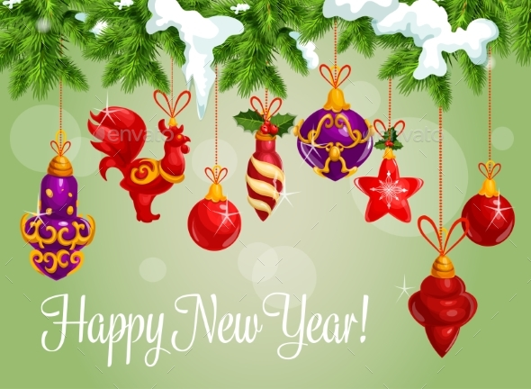Happy New Year Decorations Vector Greeting Card - New Year Seasons/Holidays
