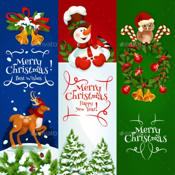 Merry Christmas, Happy New Year Vector Banners - Christmas Seasons/Holidays