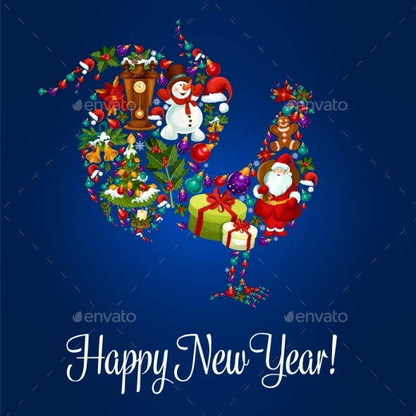 Happy New Year Greeting Poster, Rooster Symbol - New Year Seasons/Holidays