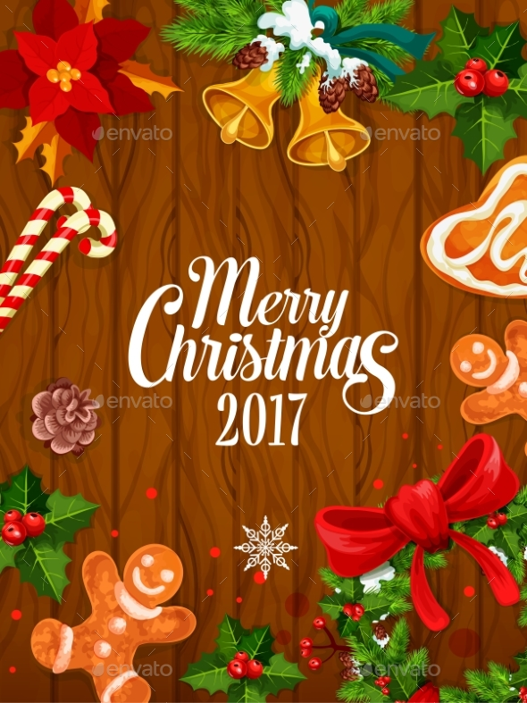 Merry Christmas 2017 Vector Poster, Greeting Card - Christmas Seasons/Holidays