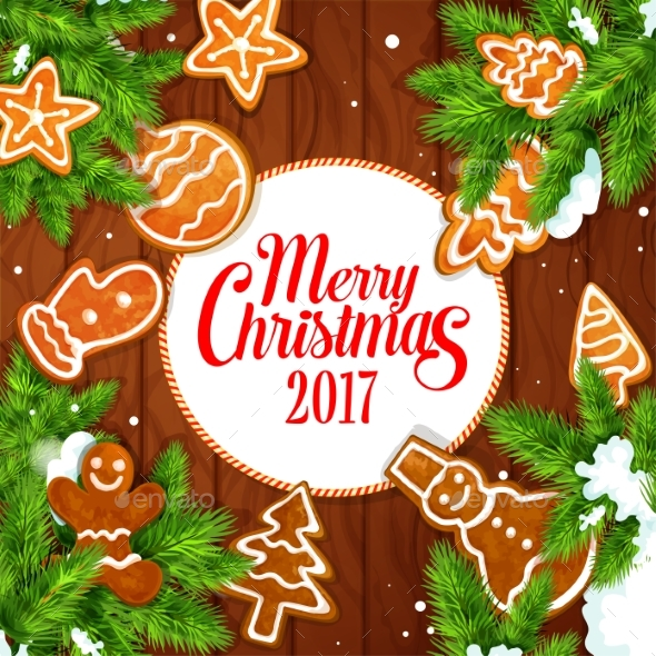 merry christmas 2017 gingerbread biscuits poster christmas seasonsholidays