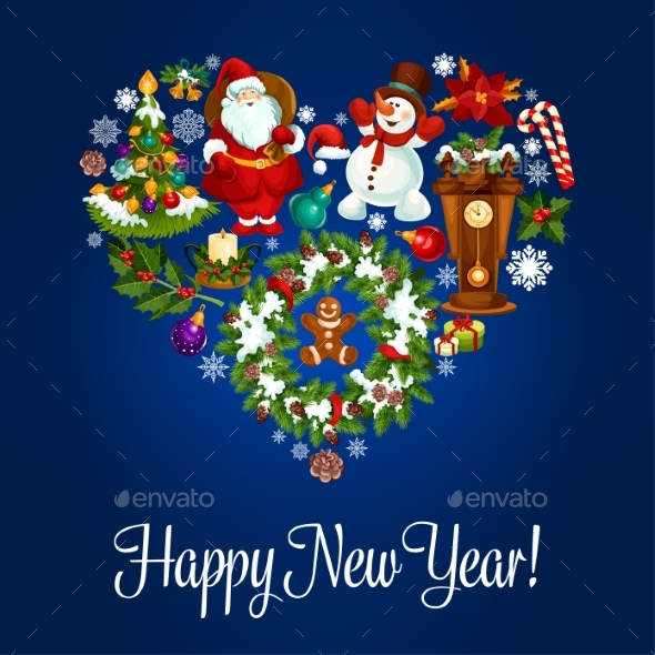 Happy New Year Greeting Poster in Heart Shape - New Year Seasons/Holidays