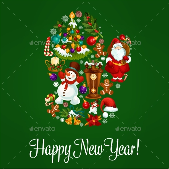 Happy New Year Greeting Poster in Mitten Shape - New Year Seasons/Holidays