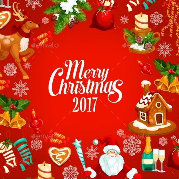 Merry Christmas 2017 Vector Greeting Poster - Christmas Seasons/Holidays
