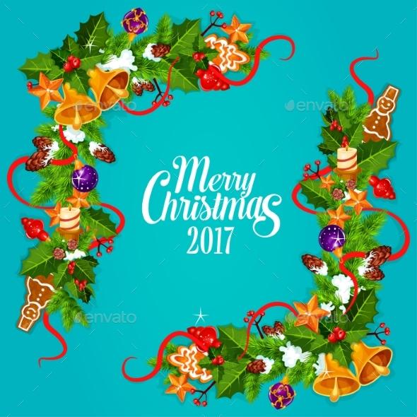 Merry Christmas 2017 Vector Poster, Greeting Card - Christmas Seasons/Holidays