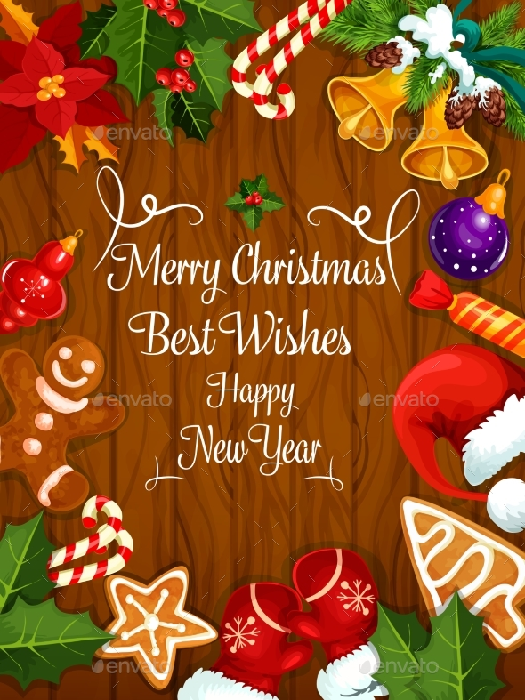 Merry christmas new year wishes greeting card by vectortradition merry christmas new year wishes greeting card christmas seasonsholidays m4hsunfo