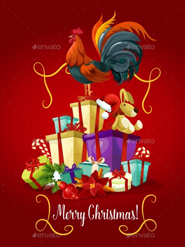 Merry Christmas Card. Rooster Cock Vector Poster - Christmas Seasons/Holidays