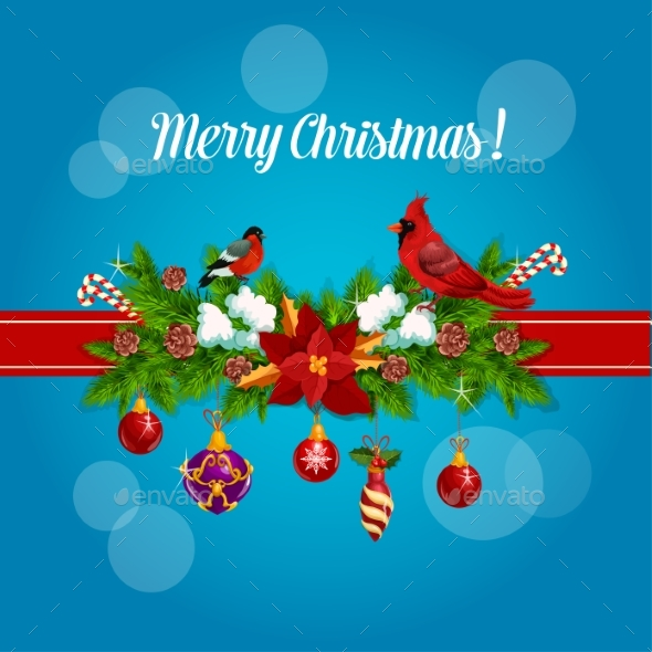 Merry Christmas Holly Garland Bow Poster - Christmas Seasons/Holidays
