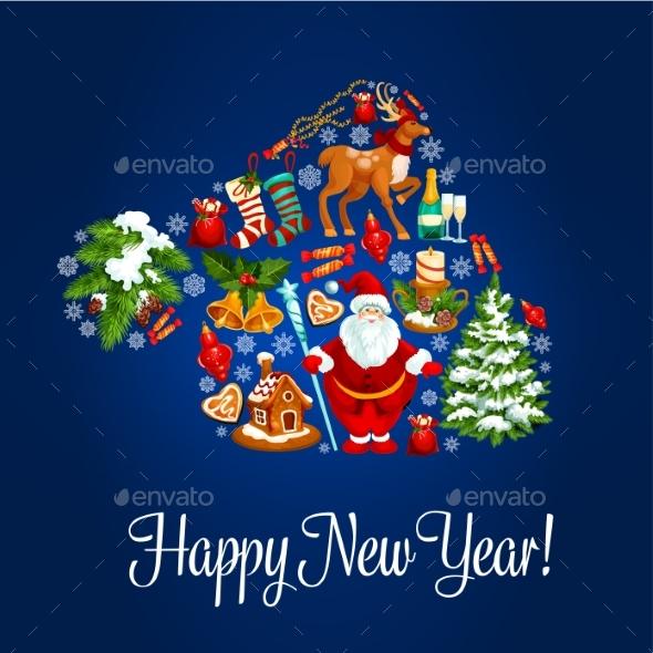 Happy New Year Greeting Poster. Santa Hat Symbol - New Year Seasons/Holidays