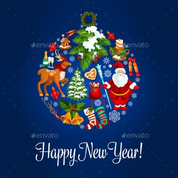 Happy New Year Greeting Card. Ornament Ball - New Year Seasons/Holidays
