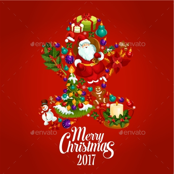 Merry Christmas 2017 Poster. Gingerbread Man - Christmas Seasons/Holidays