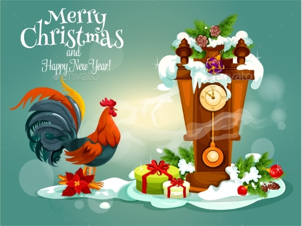 Merry Christams and Red Rooster New Year Greeting - Christmas Seasons/Holidays