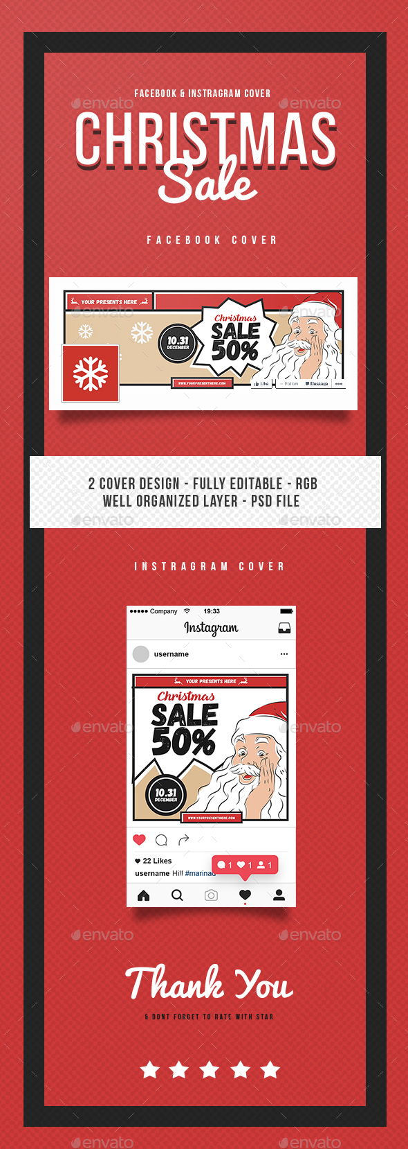 Christmas Sale Instagram & Facebook Cover - Social Media Web Elements