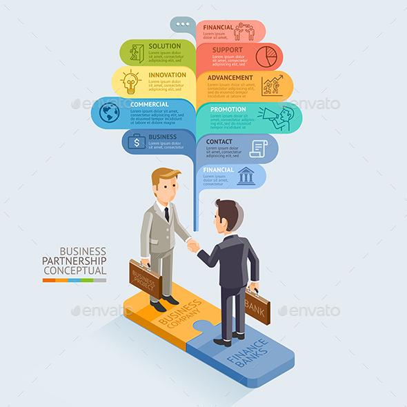 Businessman Handshake on Jigsaw Puzzle. - Infographics