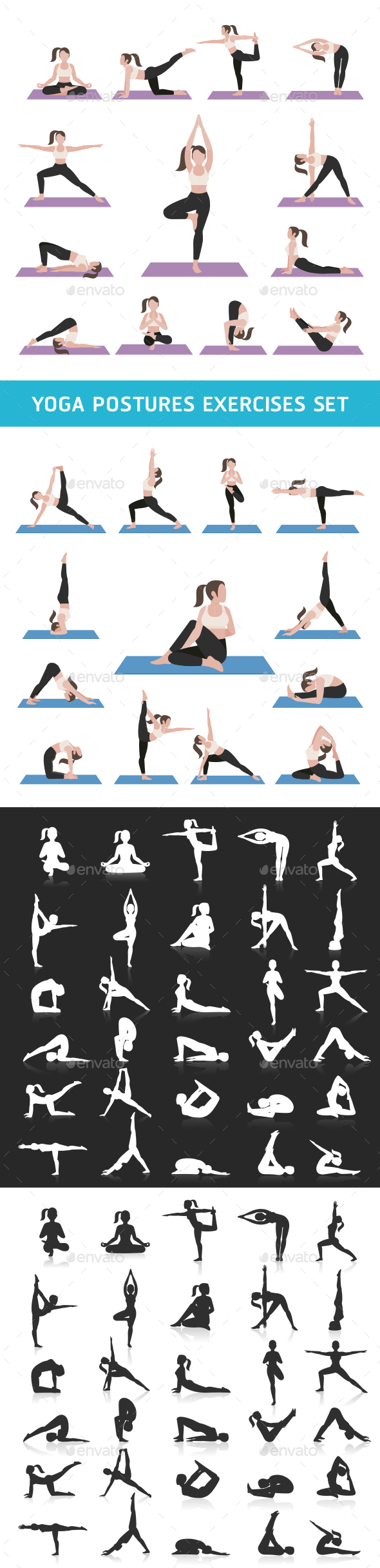 Yoga Postures Exercises Icons Set. - Sports/Activity Conceptual
