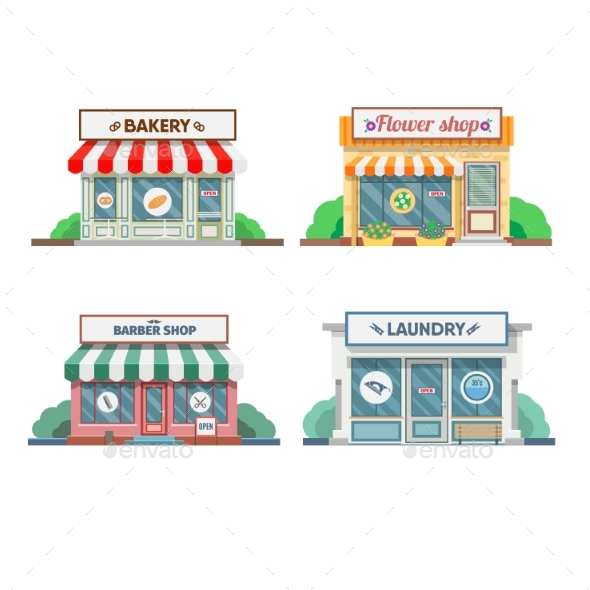Flower Shop, Laundry, Barber , Bakery, Newsstand - Buildings Objects