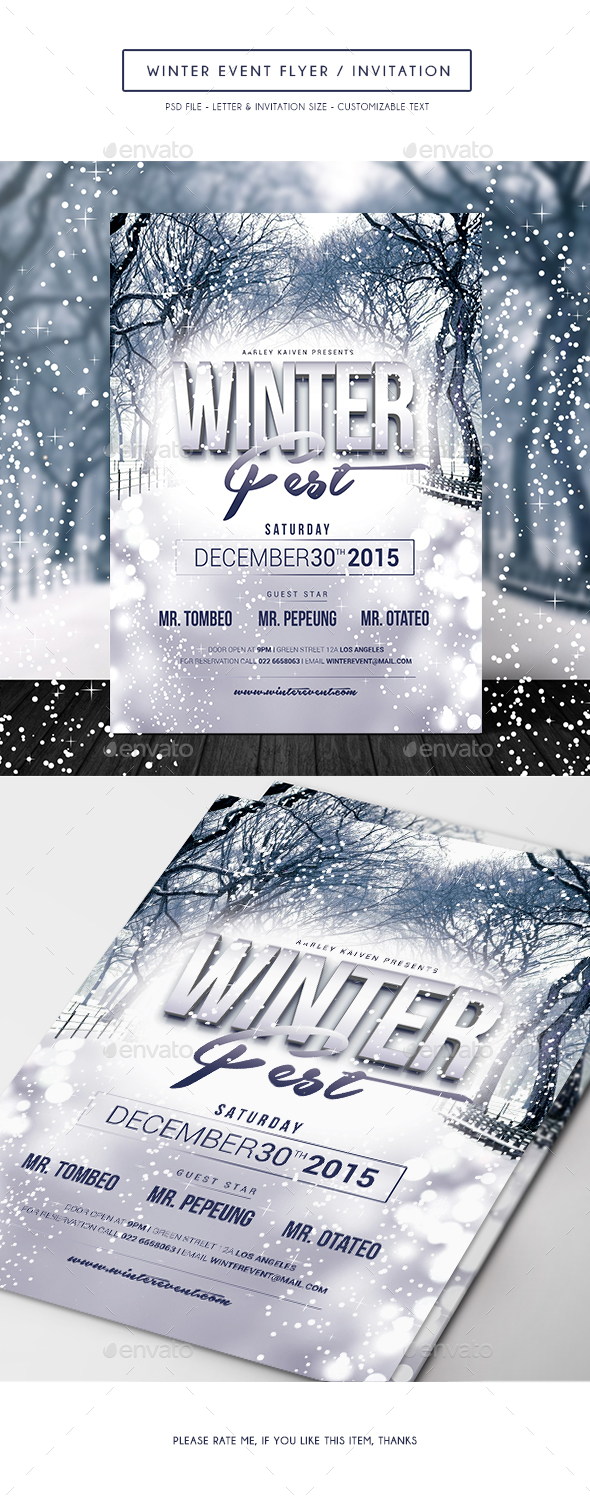 Winter Event Flyer /  Invitation - Clubs & Parties Events