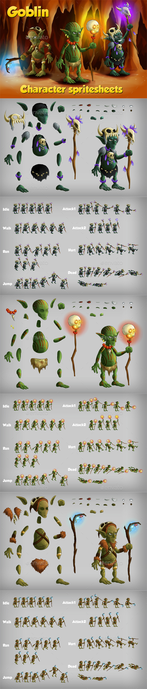 2D Game Goblin Character Sprite - Sprites Game Assets