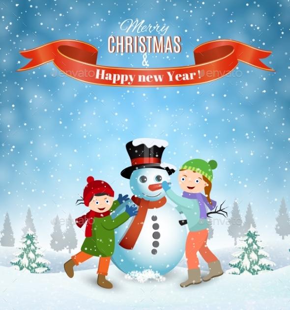 Children Building Snowman. - Christmas Seasons/Holidays