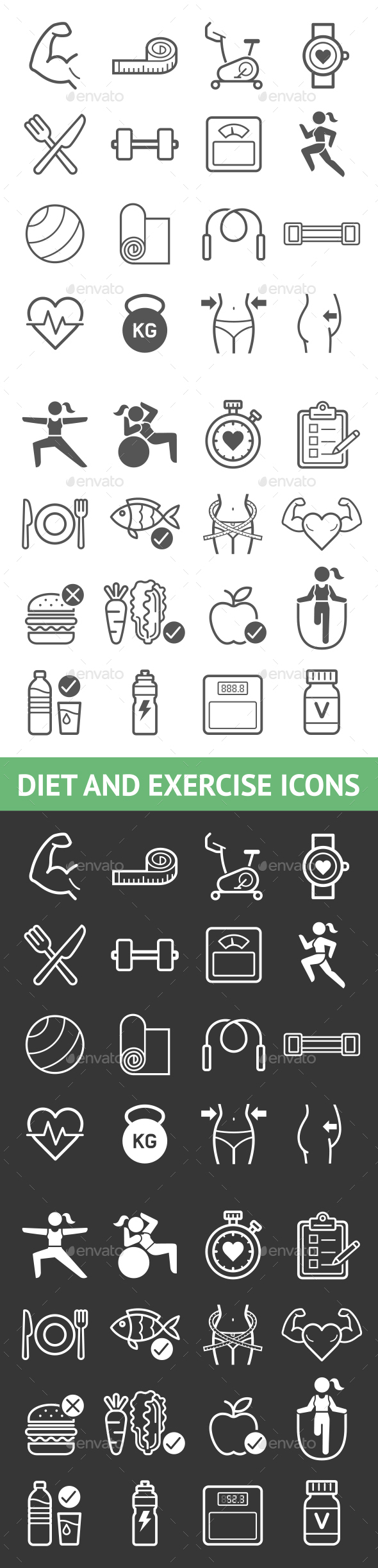 Diet and Exercise Icons - Icons