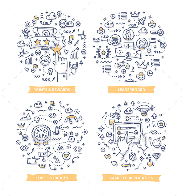 Gamification Doodle Illustrations - Communications Technology